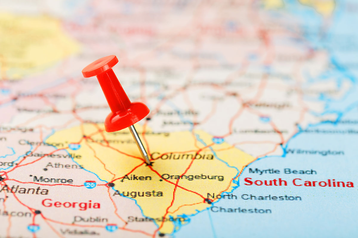 South Carolina map with thumbtack